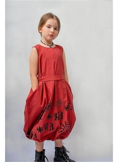 Hilal Akıncı Kids Kiz Çocuk H'A Baskili Bohem Sıyah Elbıse Kırmızı